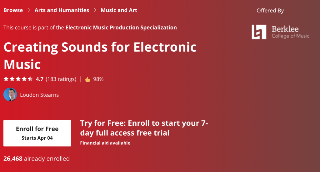 Creating Sounds for Electronic Music Course